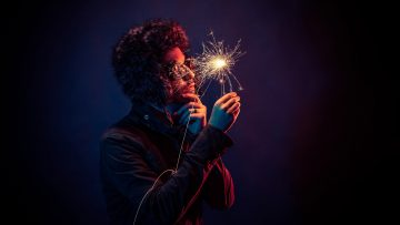 Man with sparkler
