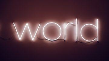 Neon sign saying World