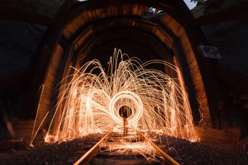 Sparkler drawings in night sky with long exposure