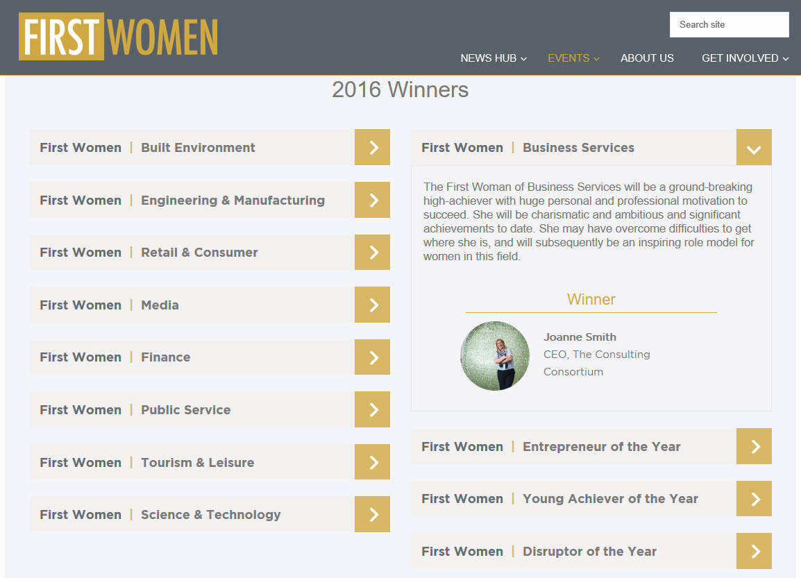 First Women Awards Winners
