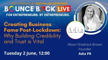 Festival of Enterprise - Bounce Back Live - Alison Shadrack Brown